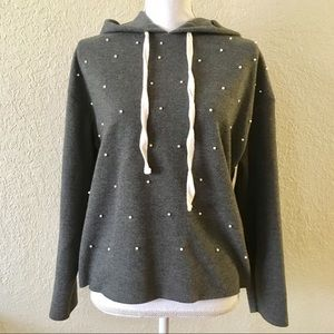 ZARA Soft Feel Sweatshirt with Pearls Grey